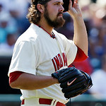 Cleveland Indians relief pitcher Chris Perez reacts after giving up a solo home run to Tampa Bay Rays' Will Rhymes in the ninth inning of a baseball game on Sunday, July 8, 2012, in Clevelan …