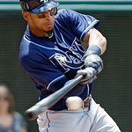 Tampa Bay Rays' Desmond Jennings hits a two-run double off Cleveland Indians starting pitcher Zach McAllister in the sixth inning of a baseball game on Sunday, July 8, 2012, in Cleveland. (A …