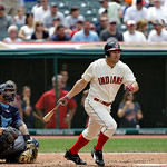 Cleveland Indians' Johnny Damon bats against the Tampa Bay Rays as catcher Jose Lobaton watches in a baseball game Sunday, July 8, 2012, in Cleveland. (AP Photo/Mark Duncan)