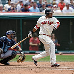 Cleveland Indians' Carlos Santana bats against the Tampa Bay Rays in a baseball game Sunday, July 8, 2012, in Cleveland. (AP Photo/Mark Duncan)