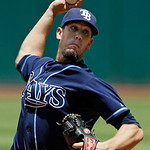 Tampa Bay Rays starting pitcher James Shields delivers against the Cleveland Indians in the first inning of a baseball game on Sunday, July 8, 2012, in Cleveland. (AP Photo/Mark Duncan)