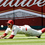 Cleveland Indians center fielder Michael Brantley cannot make the catch on an RBI-triple by Tampa Bay Rays' Carlos Pena in the ninth inning of a baseball game on Sunday, July 8, 2012, in Cle …
