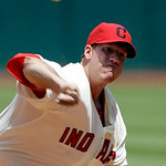 Cleveland Indians starting pitcher Zach McAllister delivers against the Tampa Bay Rays in the first inning of a baseball game on Sunday, July 8, 2012, in Cleveland. (AP Photo/Mark Duncan)