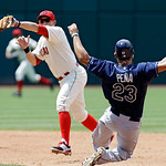 Cleveland Indians shortstop Asdrubal Cabrera, left, cannot catch a bad throw as Tampa Bay Rays' Carlos Pena (23) slides safely into second base on a ground ball by Ben Zobrist in the sixth i …