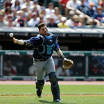 Tampa Bay Rays catcher Jose Lobaton throws to first during a baseball game against the Cleveland Indians Sunday, July 8, 2012, in Cleveland. (AP Photo/Mark Duncan)