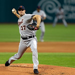 Detroit Tigers starting pitcher Max Scherzer delivers against the Cleveland Indians in the first inning of a baseball game Monday, July 8, 2013, in Cleveland. (AP Photo/Mark Duncan)