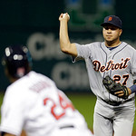 Detroit Tigers shortstop Jhonny Peralta chases down Cleveland Indians' Michael Bourn in a rundown between first and second on the seventh inning of a baseball game Monday, July 8, 2013, in C …