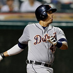 Detroit Tigers' Victor Martinez watches his two-run double off Cleveland Indians relief pitcher Matt Albers in the 10th inning of a baseball game Monday, July 8, 2013, in Cleveland. (AP Phot …