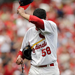 St. Louis Cardinals starting pitcher Joe Kelly exits the baseball game in the sixth inning against the Cleveland Indians, Sunday, June 10, 2012 in St. Louis. Kelly pitched five full innings …