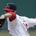 St. Louis Cardinals starting pitcher Joe Kelly, in his major league debut, pitches in the first inning of a baseball game against the Cleveland Indians, Sunday, June 10, 2012 in St. Louis. K …