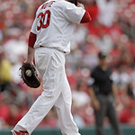 St. Louis Cardinals relief pitcher Jason Motte (30) reacts to giving up a three-run home run to Cleveland Indians' Jason Kipnis in the ninth inning of a baseball game, Sunday, June 10, 2012  …