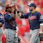 Cleveland Indians' Jason Kipnis, right, celebrates with catcher Lou Marson after the Indians defeated the St. Louis Cardinals 4-1 in a baseball game, Sunday, June 10, 2012 in St. Louis. (AP …