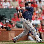 Cleveland Indians' Jason Kipnis and St. Louis Cardinals catcher Yadier Molina watch Kipnis' three-run home run in the ninth inning of a baseball game, Sunday, June 10, 2012 in St. Louis. The …