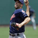 Cleveland Indians starting pitcher Ubaldo Jimenez pitches in the first inning of a baseball game against the St. Louis Cardinals, Sunday, June 10, 2012, in St. Louis.(AP Photo/Tom Gannam)