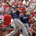 Cleveland Indians' Michael Brantley connects for a single in the sixth inning of a baseball game against the St. Louis Cardinals, Sunday, June 10, 2012 in St. Louis. The hit extended Brantle …