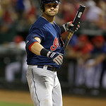 Cleveland Indians Nick Swisher looks back to the dugout  during the baseball game against the Texas Rangers Tuesday, June 11, 2013, in Arlington, Texas. (AP Photo/LM Otero)
