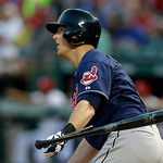 Cleveland Indians Drew Stubbs watches his broken bat two-run RBI single fly away during the fifth inning of a baseball game against the Texas Rangers on Tuesday, June 11, 2013, in Arlington, …