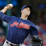 Cleveland Indians starting pitcher Ubaldo Jimenez throws during the first inning of a baseball game against the Texas Rangers, Wednesday, June 12, 2013, in Arlington, Texas. (AP Photo/LM Ote …