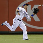 Texas Rangers center fielder Leonys Martin catches a fly ball during the baseball game against the Cleveland Indians Wednesday, June 12, 2013, in Arlington, Texas. (AP Photo/LM Otero)