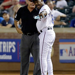 Texas Rangers manager Ron Washington (38) argues a call with first base umpire Tim Timmons during the ninth inning of a baseball game Wednesday, June 12, 2013, in Arlington, Texas.  The Indi …