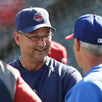 Cleveland Indians manager Terry Francona talks during batting practice before a baseball game against the Texas Rangers, Wednesday, June 12, 2013, in Arlington, Texas. (AP Photo/LM Otero)