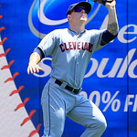 Cleveland Indians left fielder Aaron Cunningham catches a fly ball hit by Cincinnati Reds' Todd Frazier in the third inning of a baseball game, Thursday, June 14, 2012 in Cincinnati. (AP Pho …