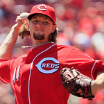 Cincinnati Reds starting pitcher Mike Leake throws against the Cleveland Indians in the first inning of a baseball game, Thursday, June 14, 2012 in Cincinnati. (AP Photo/Al Behrman)