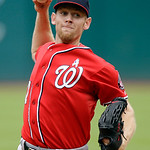 Washington Nationals starting pitcher Stephen Strasburg delivers against the Cleveland Indians in the first inning of a baseball game on Sunday, June 16, 2013, in Cleveland. (AP Photo/Mark D …