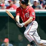 Washington Nationals' Anthony Rendon singles against the Cleveland Indians in the sixth inning of a baseball game Sunday, June 16, 2013, in Cleveland. (AP Photo/Mark Duncan)