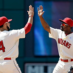 Cleveland Indians shortstop Mike Aviles (4) and center fielder Michael Bourn celebrate after 2-0 win over the Washington Nationals in a baseball game, Sunday, June 16, 2013, in Cleveland. (A …