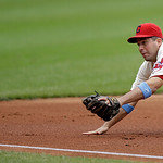 Cleveland Indians third baseman John McDonald dives but can't get to a double by Washington Nationals' Anthony Rendon in the first inning of a baseball game Sunday, June 16, 2013, in Clevela …