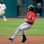 Washington Nationals' Anthony Rendon rounds second base after a double in the first inning of a baseball game Sunday, June 16, 2013, in Cleveland. (AP Photo/Mark Duncan)