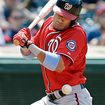 Washington Nationals' Ian Desmond is hit by a pitch from Cleveland Indians starting pitcher Corey Kluber in the seventh inning of a baseball game,Sunday, June 16, 2013, in Cleveland. (AP Pho …