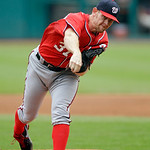 Washington Nationals starting pitcher Stephen Strasburg delivers against the Cleveland Indians in the first inning of a baseball game Sunday, June 16, 2013, in Cleveland. (AP Photo/Mark Dunc …