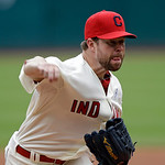 Cleveland Indians starting pitcher Corey Kluber delivers against the Washington Nationals in the first inning of a baseball game on Sunday, June 16, 2013, in Cleveland. (AP Photo/Mark Duncan …