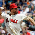 Cleveland Indians starting pitcher Corey Kluber delivers against the Washington Nationals in the sixth inning of a baseball game Sunday, June 16, 2013, in Cleveland. (AP Photo/Mark Duncan)