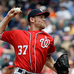 Washington Nationals starting pitcher Stephen Strasburg delivers against the Cleveland Indians in the fifth inning of a baseball game Sunday, June 16, 2013, in Cleveland. (AP Photo/Mark Dunc …