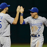 Kansas City Royals right fielder David Lough, right, celebrates with first baseman Eric Hosmer, left, after a 2-1 win over the Cleveland Indians in a baseball game Monday, June 17, 2013, in  …