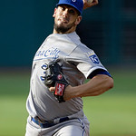 Kansas City Royals starting pitcher James Shields delivers against the Cleveland Indians in the first inning of a baseball game, Monday, June 17, 2013, in Cleveland. (AP Photo/Mark Duncan)