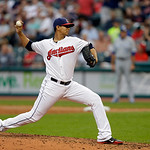 Cleveland Indians starting pitcher Carlos Carrasco delivers against the Kansas City Royals in the sixth inning of a baseball game Monday, June 17, 2013, in Cleveland. (AP Photo/Mark Duncan)