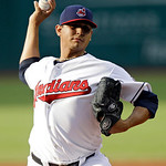 Cleveland Indians starting pitcher Carlos Carrasco delivers against the Kansas City Royals in the first inning of a baseball game, Monday, June 17, 2013, in Cleveland. (AP Photo/Mark Duncan)