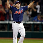 Cleveland Indians relief pitcher Vinnie Pestano celebrates after the final out in a 4-3 win over the Kansas City Royals in a baseball game Tuesday, June 18, 2013, in Cleveland. (AP Photo/Mar …
