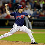 Cleveland Indians relief pitcher Vinnie Pestano delivers against the Kansas City Royals in the  ninth inning of a baseball game Tuesday, June 18, 2013, in Cleveland. Pestano got the save in  …