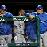 Kansas City Royals hitting coach George Brett, left, and manager Ned Yost watch form the dugout in the ninth inning of a 4-3 loss to the Cleveland Indians in a baseball game Tuesday, June 18 …