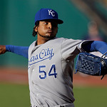 Kansas City Royals starting pitcher Ervin Santana delivers against the Cleveland Indians in the first inning of a baseball game Tuesday, June 18, 2013, in Cleveland. (AP Photo/Mark Duncan)