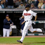 Cleveland Indians' Michael Bourn raced home to score on a sacrifice fly by Mike Aviles in the seventh inning of a baseball game against the Kansas City Royals Wednesday, June 19, 2013, in Cl …