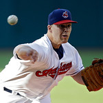 Cleveland Indians starting pitcher Justin Masterson delivers against the Kansas City Royals in the first inning of a baseball game on Wednesday, June 19, 2013, in Cleveland. (AP Photo/Mark D …