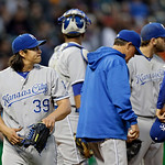 Kansas City Royals starting pitcher Luis Mendoza (39) leaves the mound in the sixth inning of a baseball game against the Cleveland Indians Wednesday, June 19, 2013, in Cleveland. (AP Photo/ …