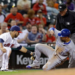 Cleveland Indians shortstop Mike Aviles, left, tags out Kansas City Royals' Eric Hosmer (35) at third base for the final out in a 6-3 win by the Indians in a baseball game on Wednesday, June …