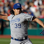 Kansas City Royals starting pitcher Luis Mendoza delivers against the Cleveland Indians in the first inning of a baseball game on Wednesday, June 19, 2013, in Cleveland. (AP Photo/Mark Dunca …